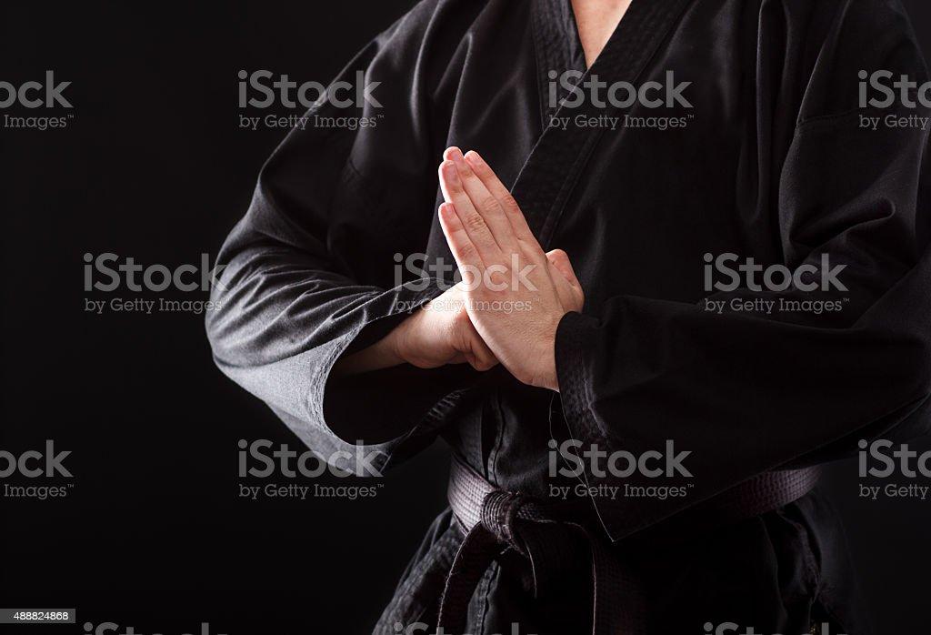 Karate fighter hands. stock photo