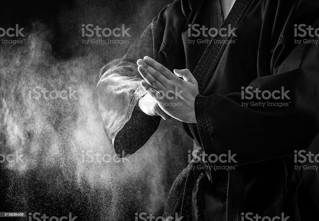 Karate fighter hands. stock photo