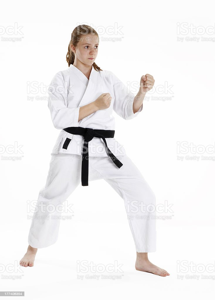 Karate girl. royalty-free stock photo