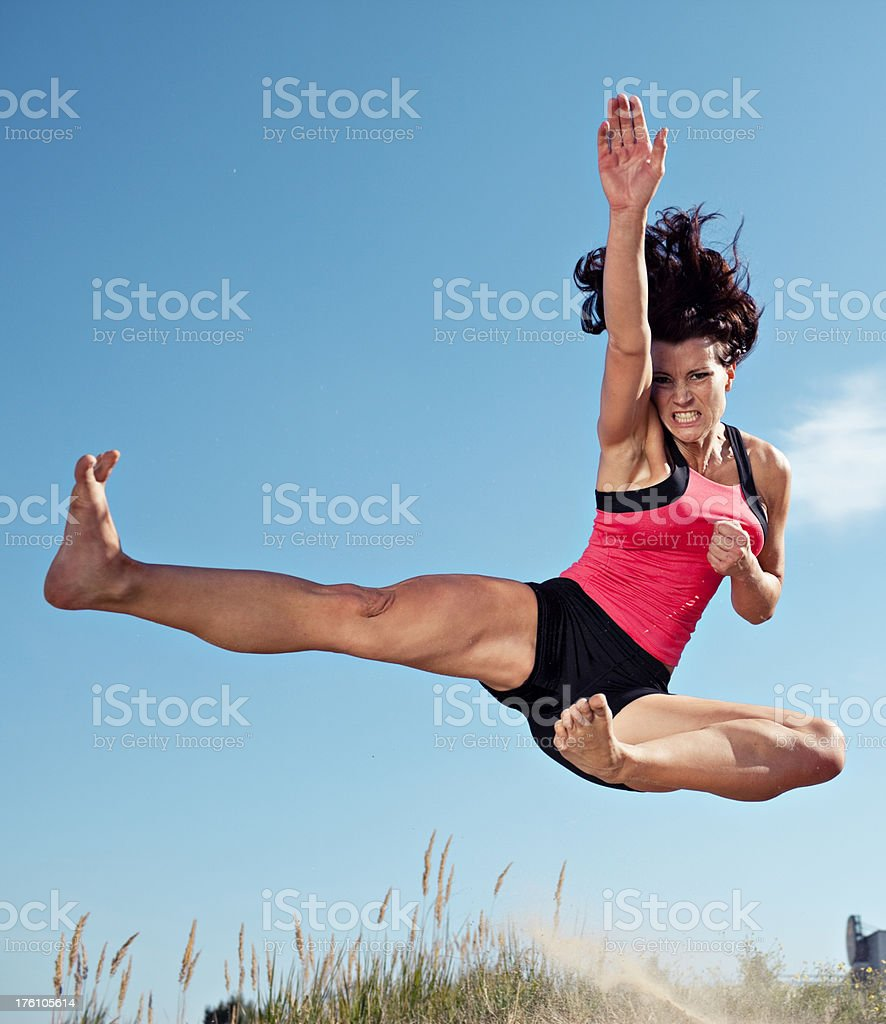 karate jump woman royalty-free stock photo