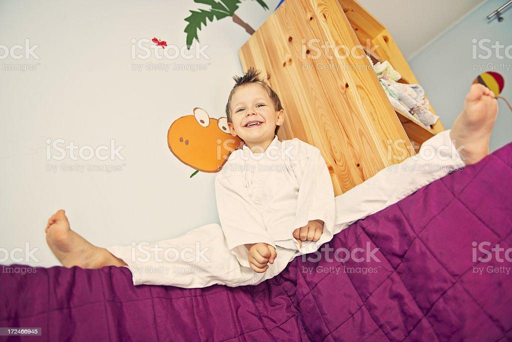 Karate kid practicing royalty-free stock photo