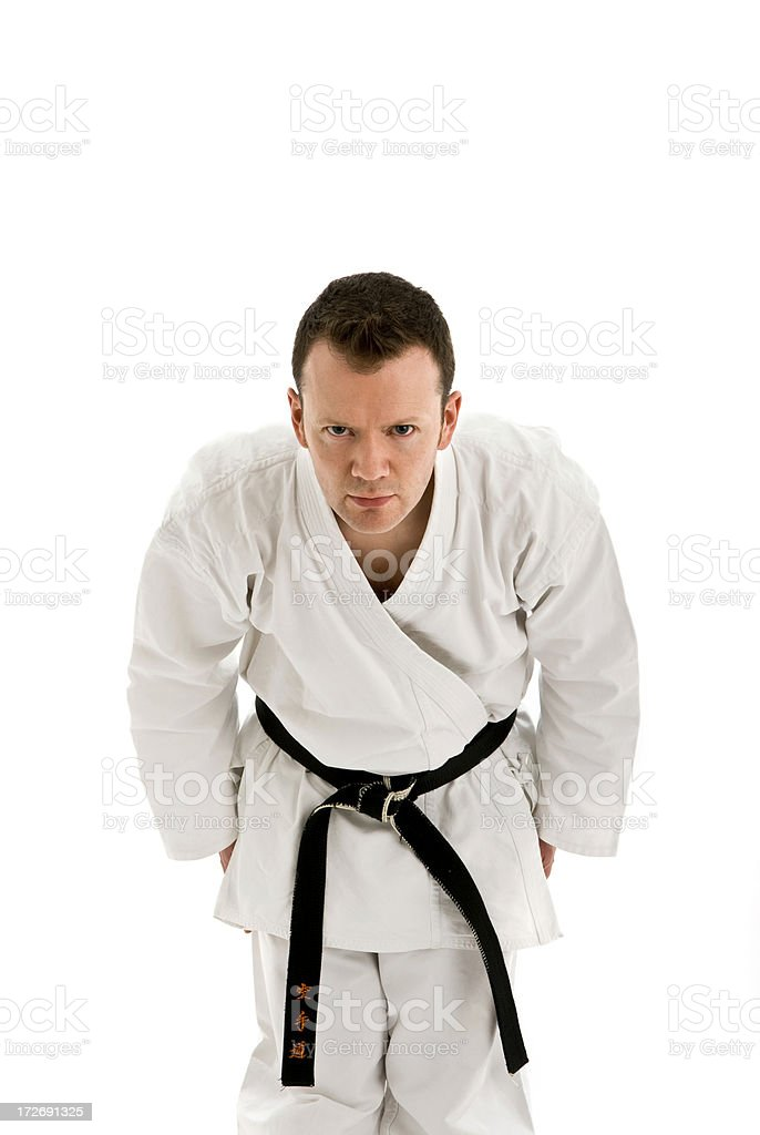 Karate man bowing for fight royalty-free stock photo