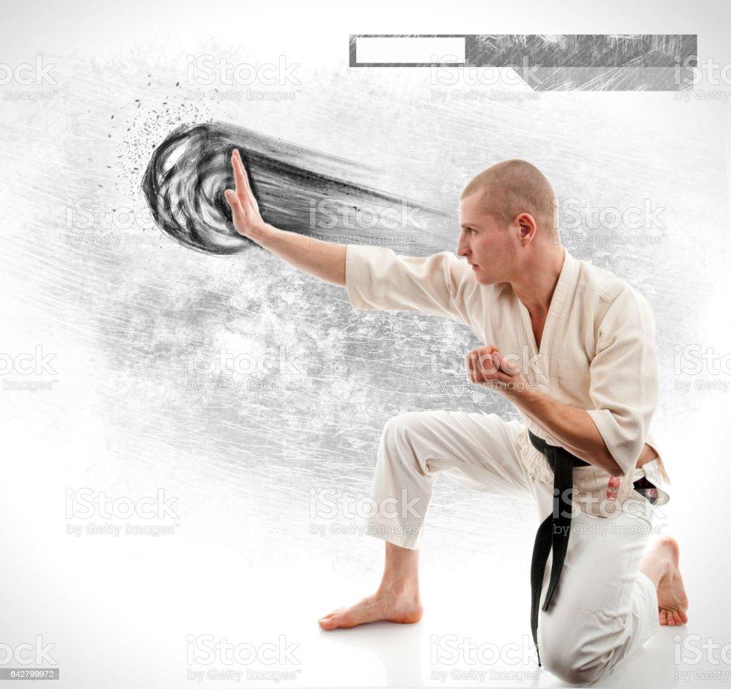 Karate. Man in a kimono on the white stock photo