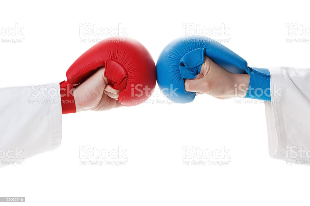 Karate sports glove and fist stock photo