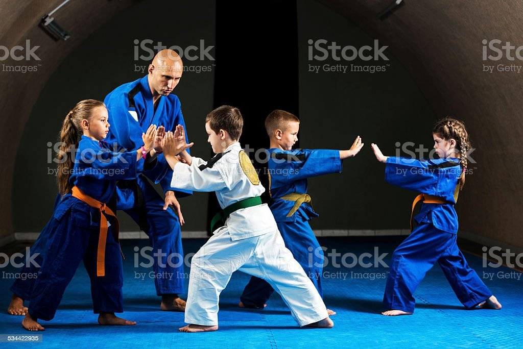 Karate training. stock photo