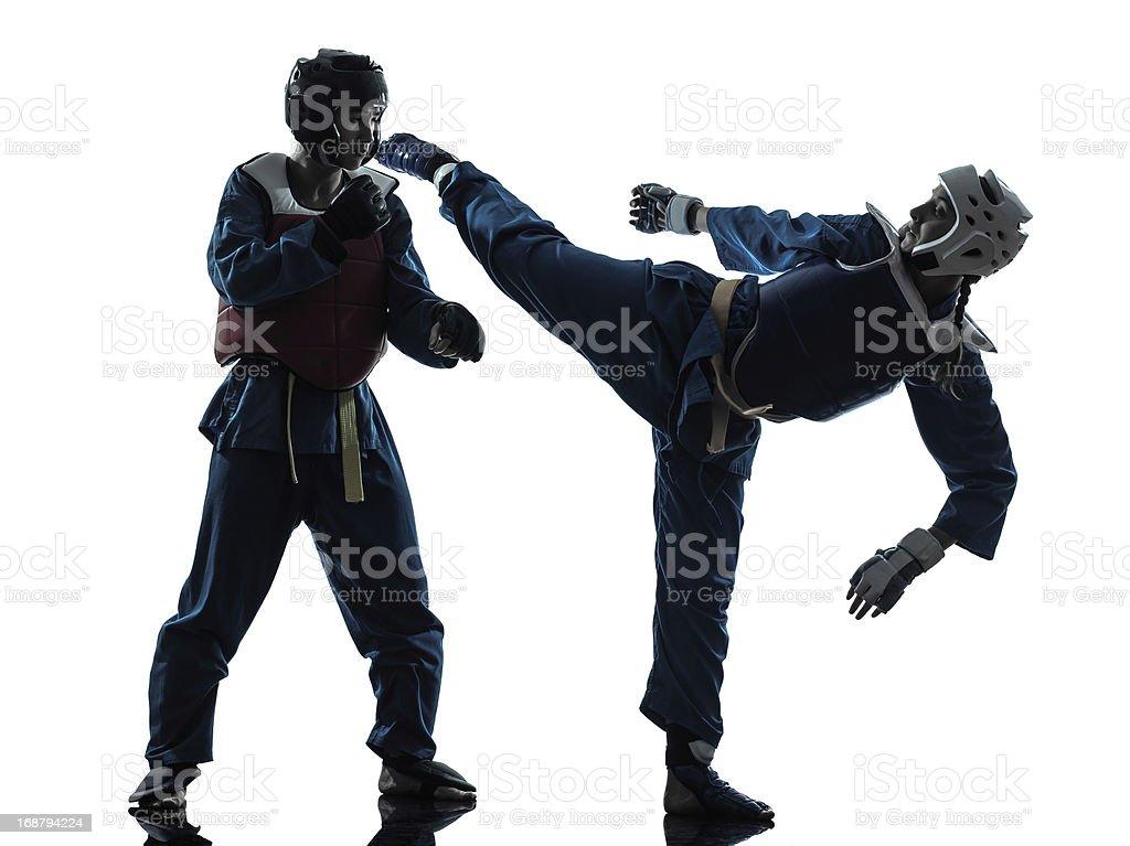 karate vietvodao martial arts man woman couple silhouette royalty-free stock photo
