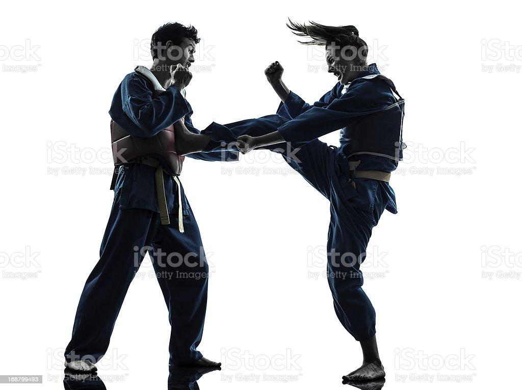 karate vietvodao martial arts man woman couple silhouette stock photo