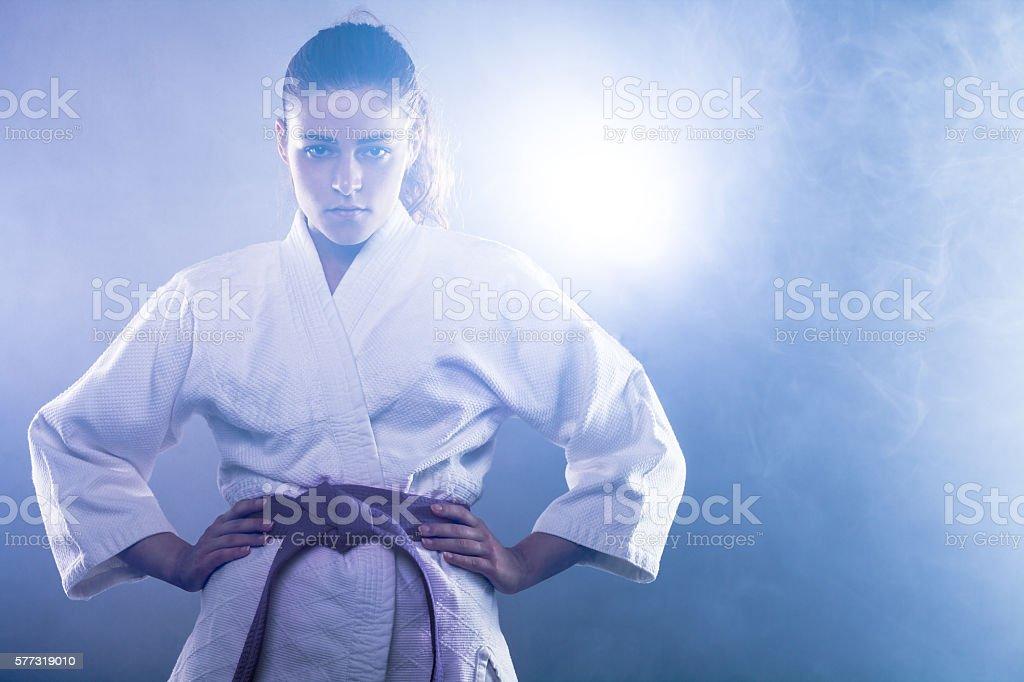 Karate Woman stock photo