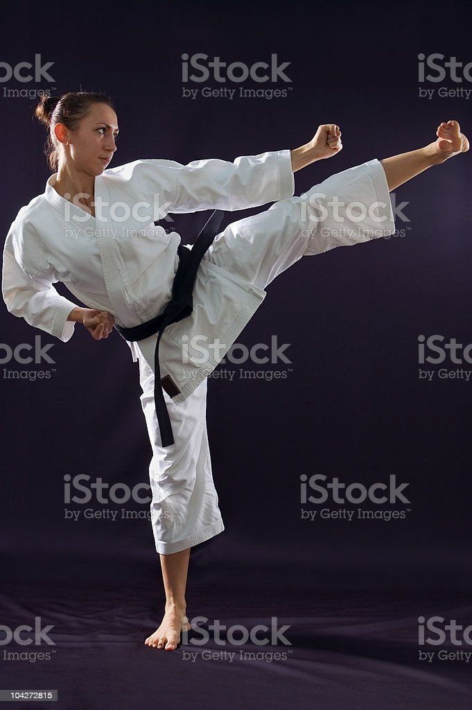 karateka girl stock photo