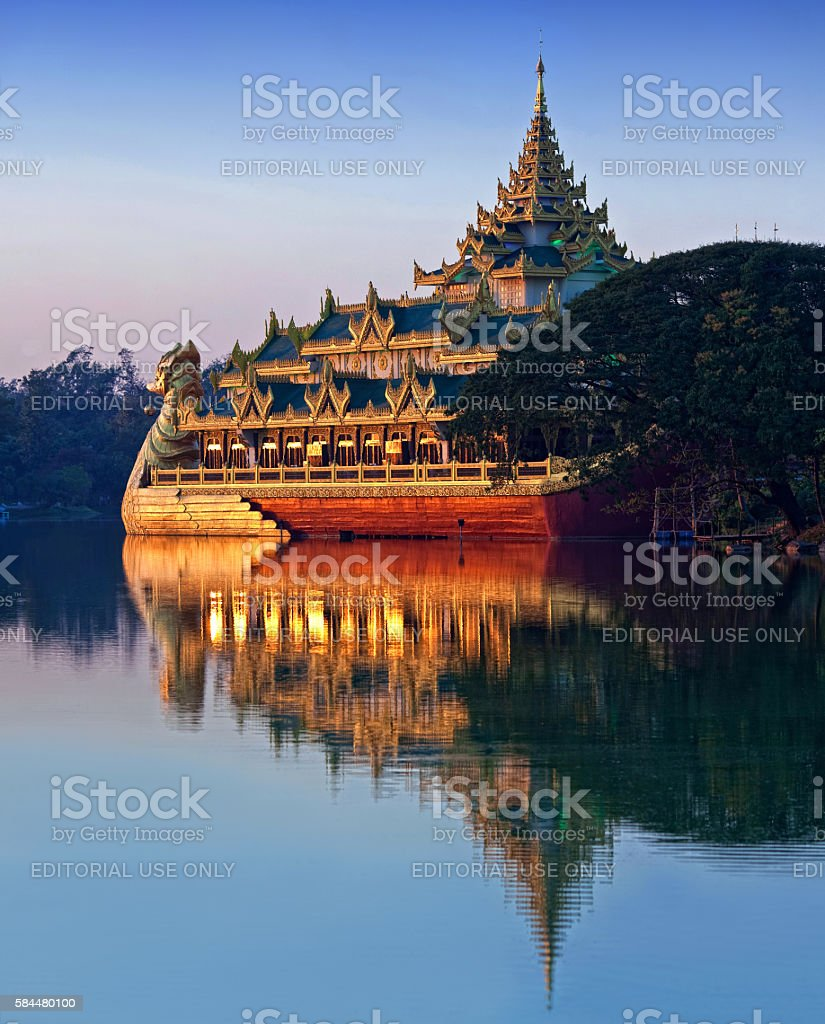 Karaweik Barge in Yangon, Myanmar stock photo