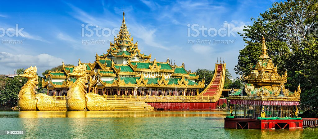 Karaweik royal barge, Kandawgyi Lake, Yangon stock photo