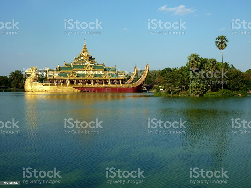 Karaweik royal barge, Yangon Myanmar stock photo