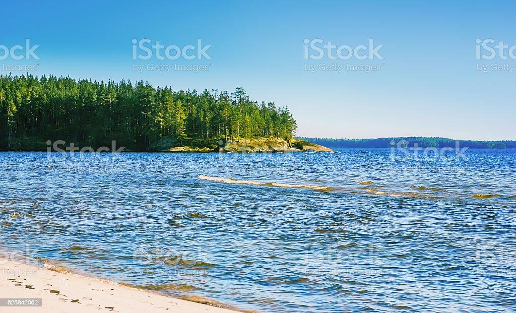 Karelian Seascape At Sunny Day stock photo