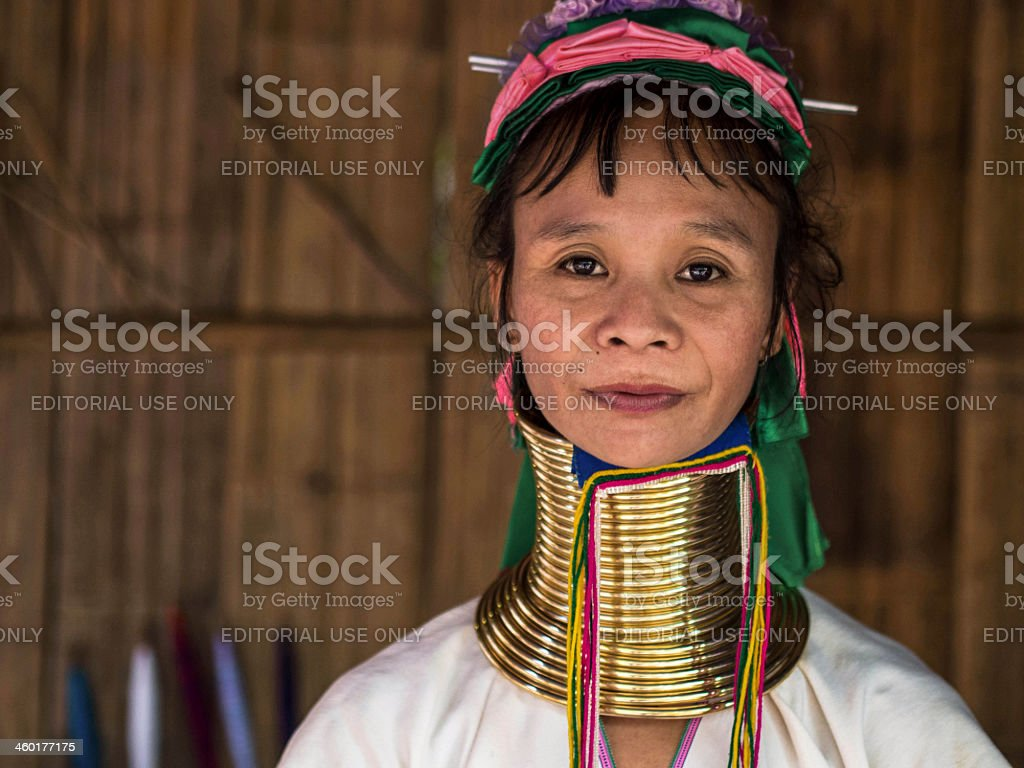 Karen Long Neck Woman in Hill Tribe Village stock photo