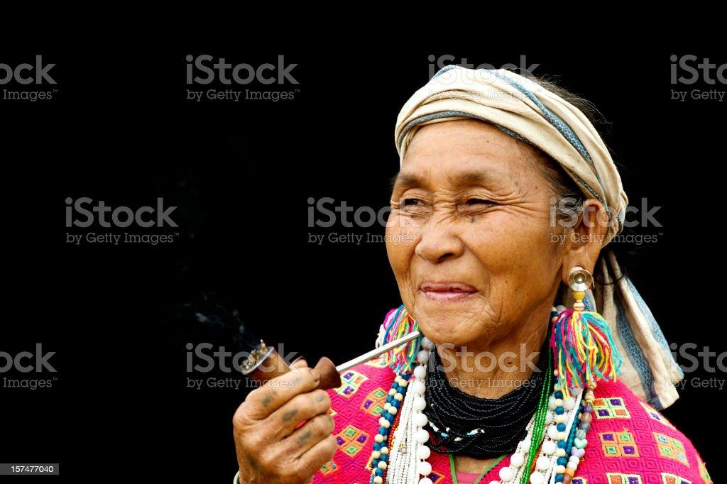 Karen Pipe Smoker stock photo