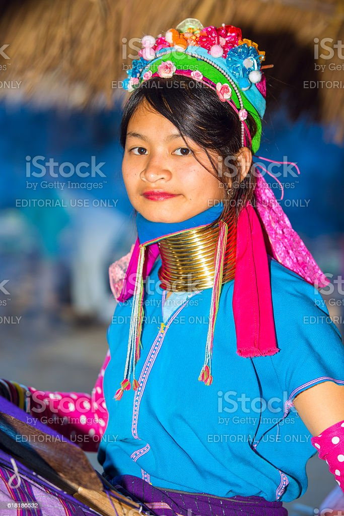 Karen tribal girl from Padaung long neck hill tribe village stock photo
