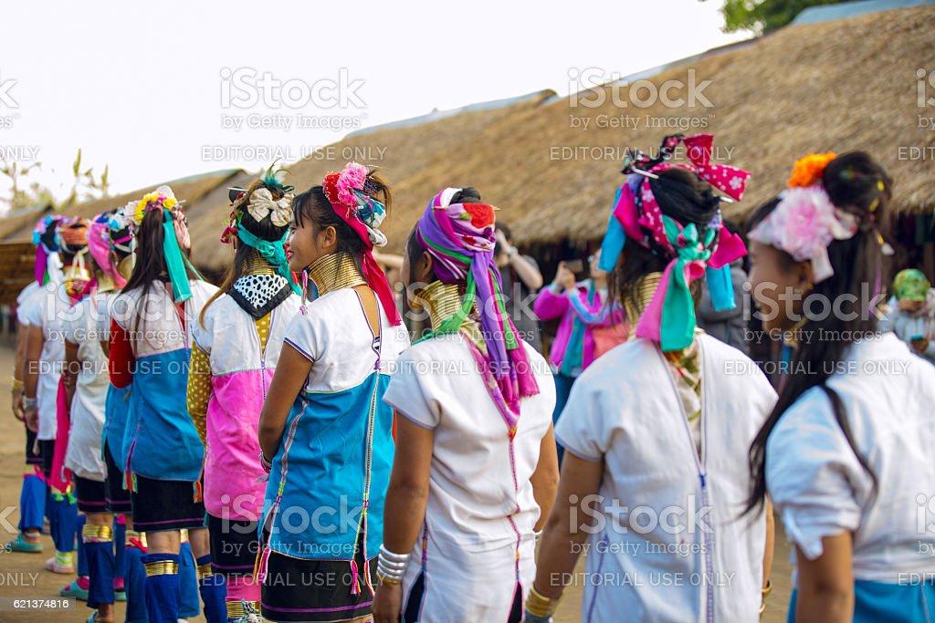 Karen tribal girls from Padaung long neck hill tribe village stock photo