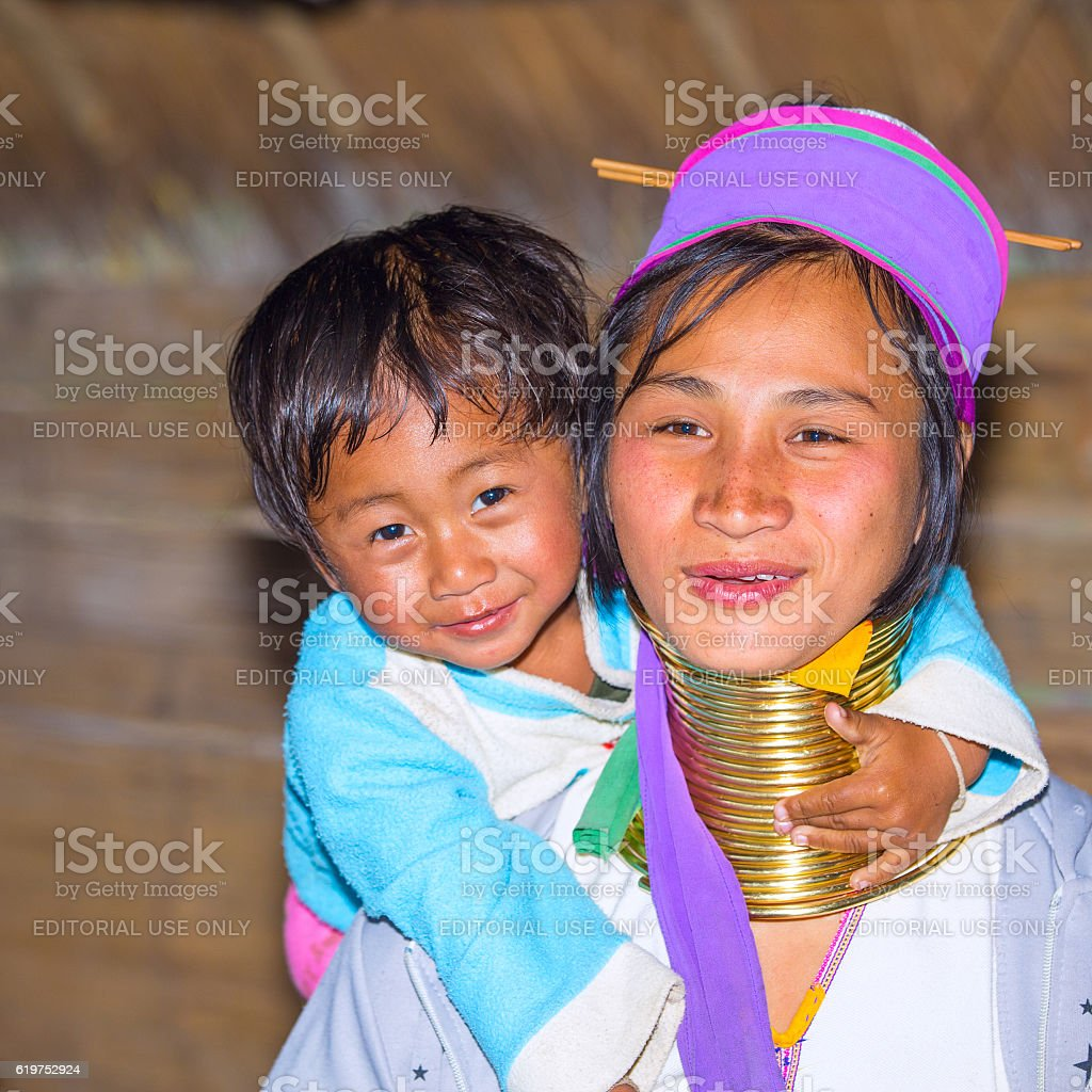 Karen tribal woman with her son stock photo