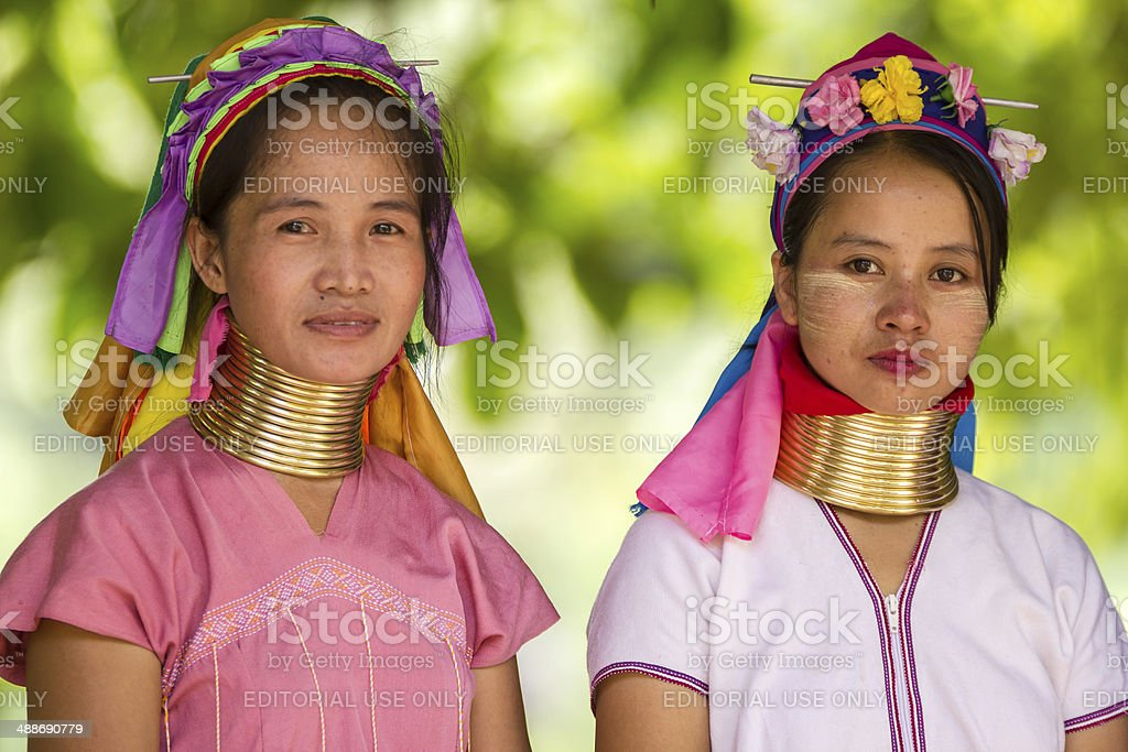 Karen tribe women from the Padaung tribe stock photo