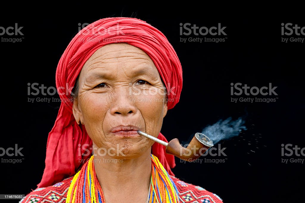 Karen Woman Smoking a Pipe stock photo