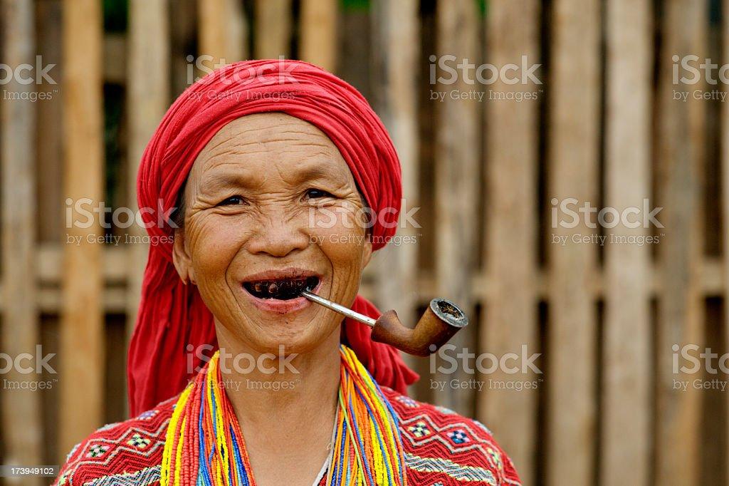 Karen Woman Smoking stock photo