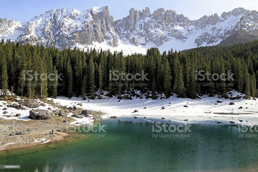 Karersee (Carezza Lake) and Latemar stock photo
