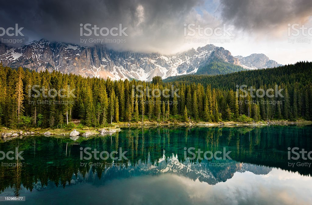 Karersee (Lago di Carezza) in Afternoon Light royalty-free stock photo