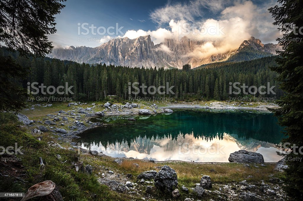 Karersee lake and Dolomites in the morning, Italy. stock photo