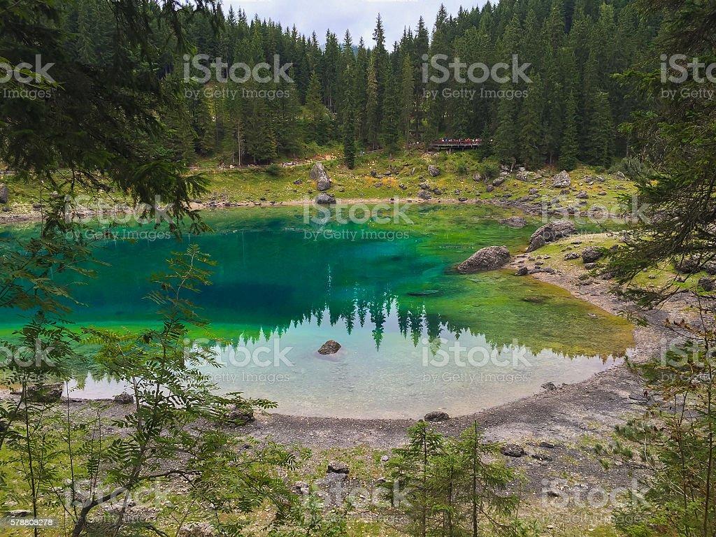 Karersee lake stock photo