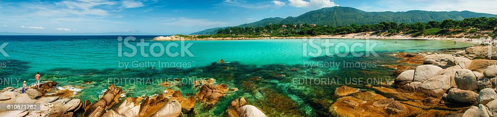 Karidi beach in Vourvourou, Sithonia, Greece стоковое фото