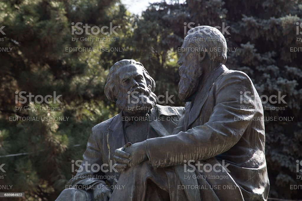Karl Marx and Friedrich Engels monument stock photo