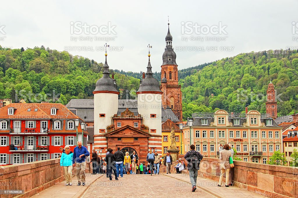Karl Theodor Bridge, Heidelberg, Germany stock photo