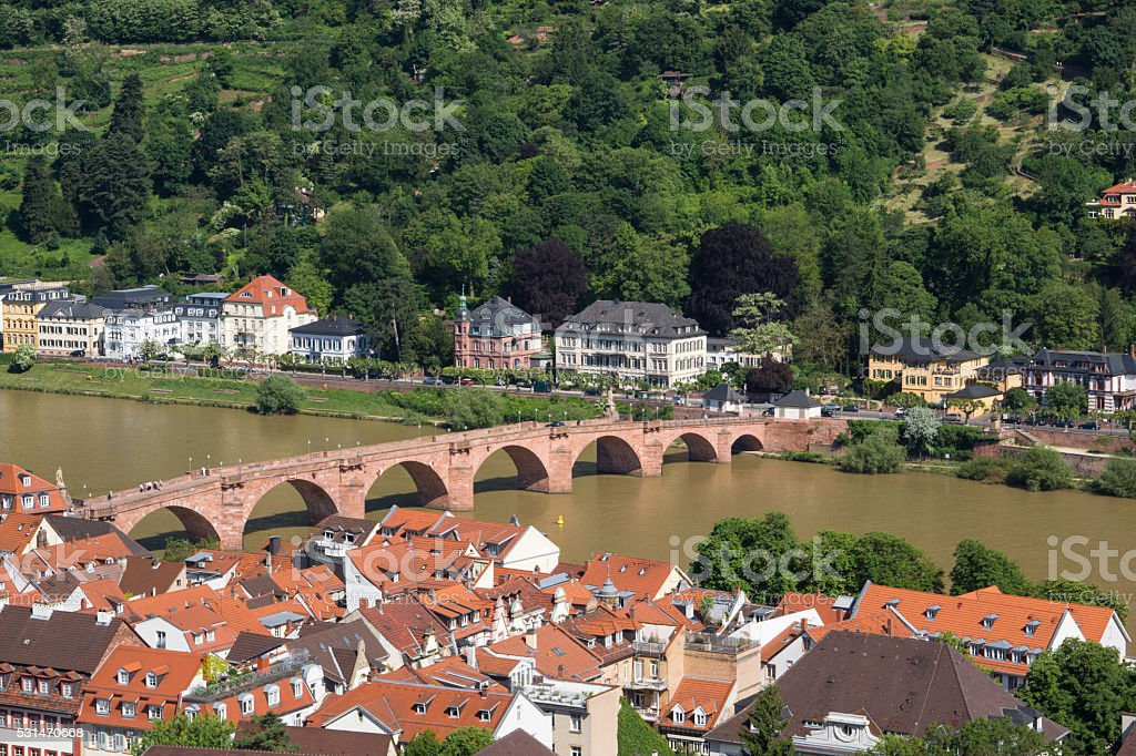 Karl Theodor Bridge in Heidelberg stock photo