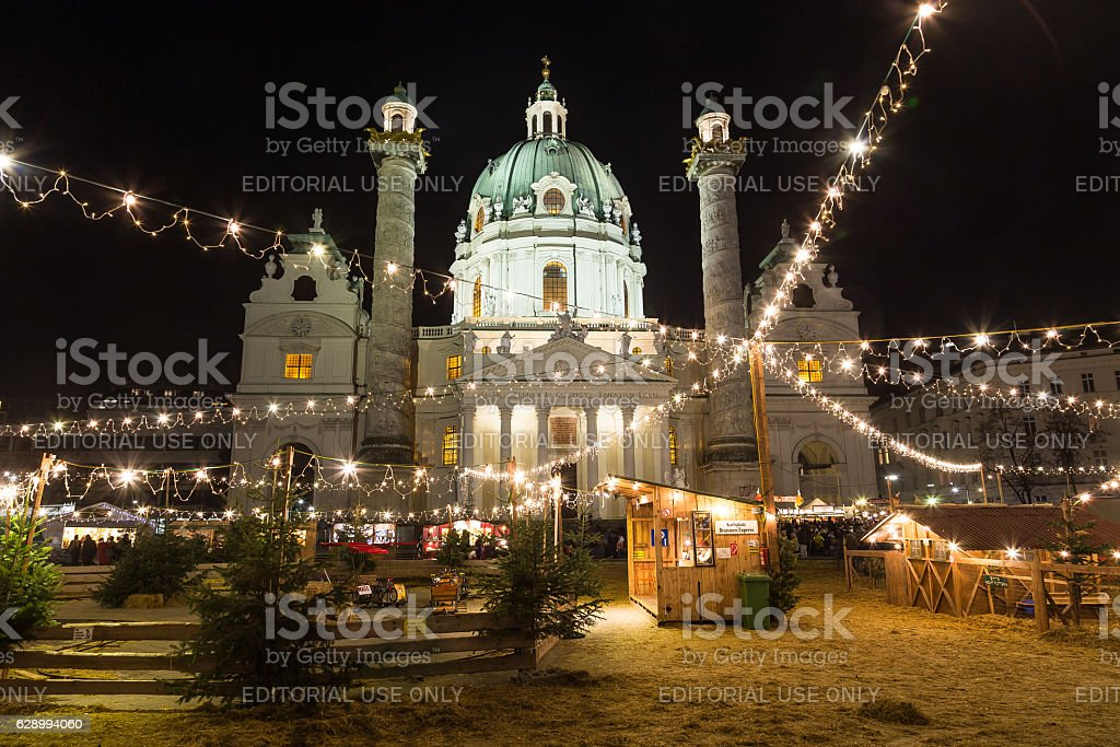 Karlskirche and the Art Advent Christmas Market stock photo