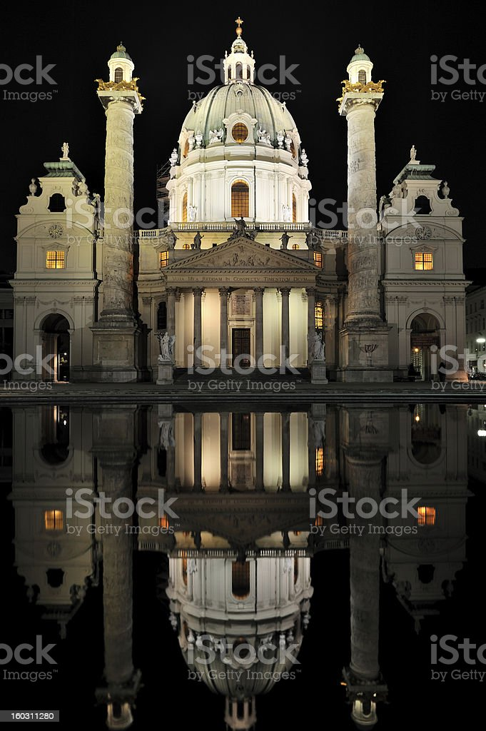 Karlskirche at night royalty-free stock photo