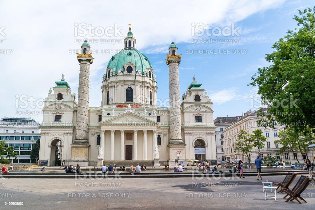 Karlskirche, Charles Church on Karlsplatz square in Vienna stock photo