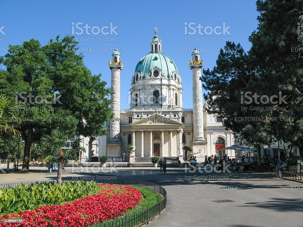 Karlskirche  in  Vienna,  Austria. stock photo