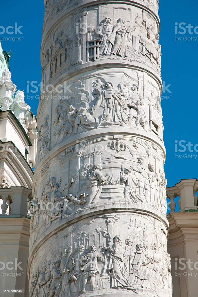 Karlskirche Spiral Column - Vienna - Austria stock photo