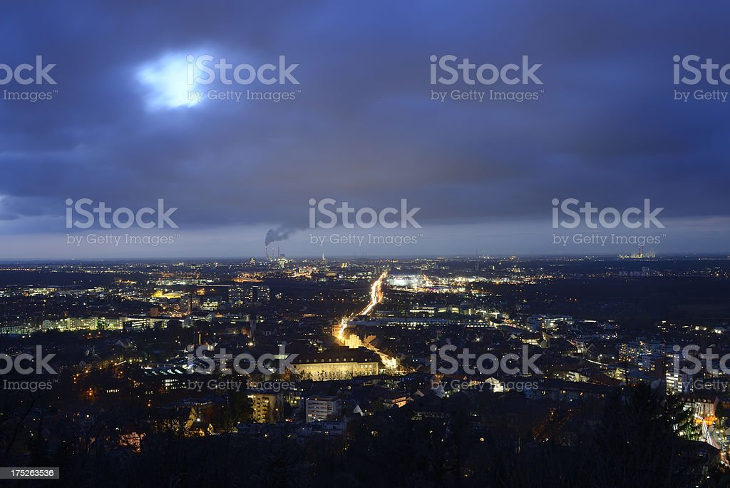 Karlsruhe at night royalty-free stock photo