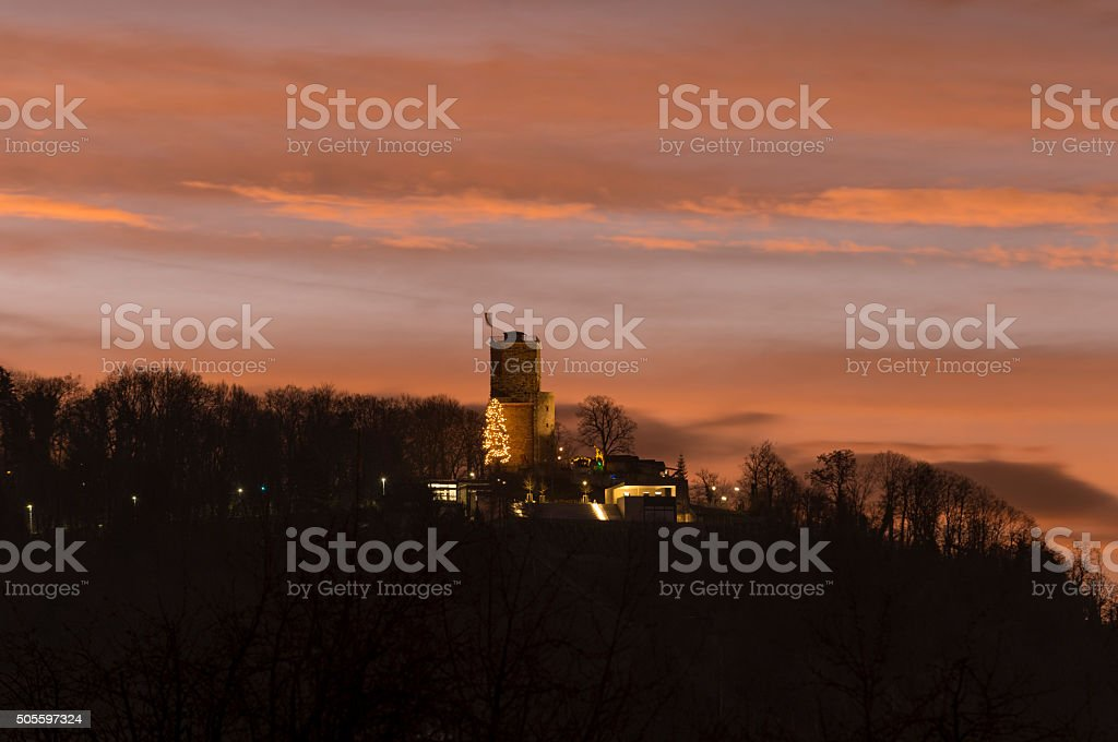 Karlsruhe, the Turmberg in the morning with Christmas tree stock photo