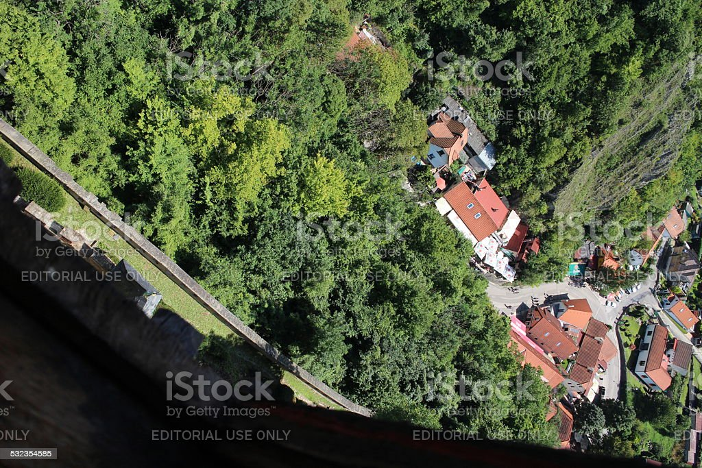 Karlstein Castle aerial stock photo