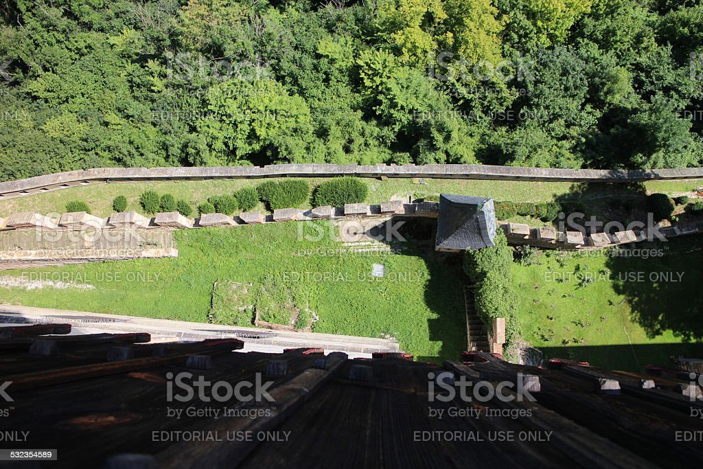Karlstein Castle defensive walls aerial stock photo