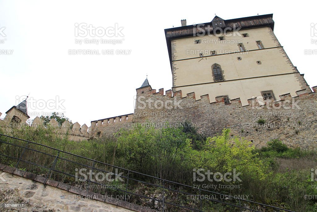 Karlstein Castle defensive walls stock photo
