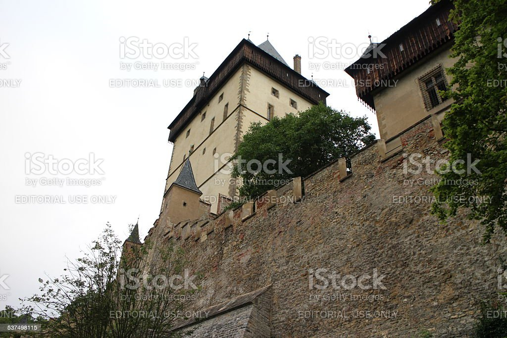 Karlstein Castle high walls stock photo