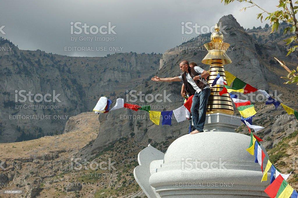 Karma Kagyu buddhists present at Kalachakra Stupa Inauguration,Greece royalty-free stock photo