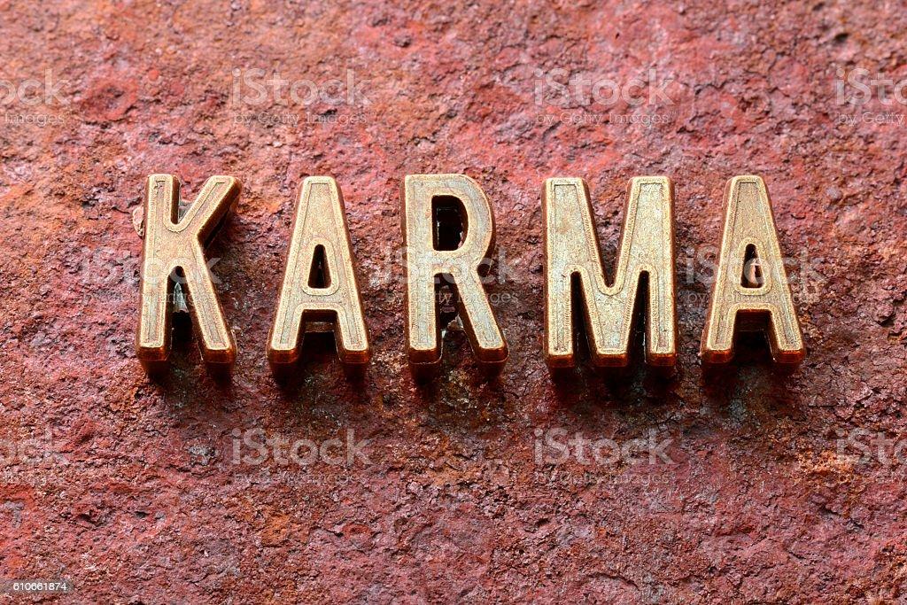 karma word rust stock photo