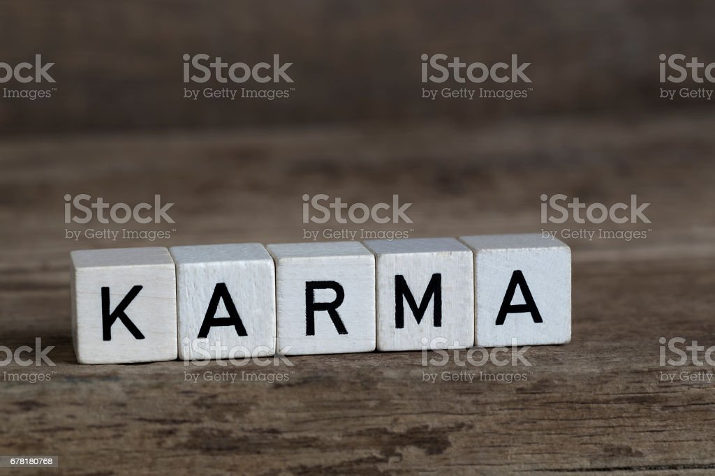 Karma, written in cubes stock photo