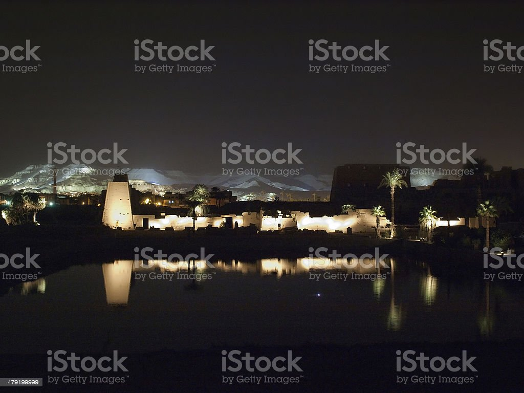 karnak temple at night stock photo