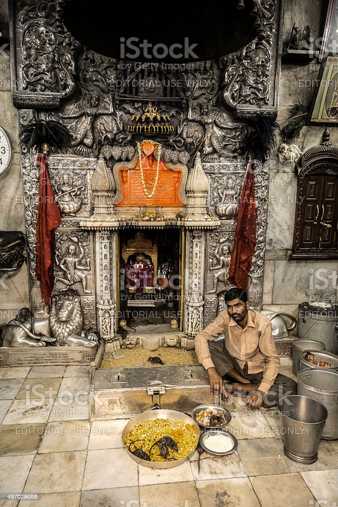 Karni Mata temple Deshnoke Rajasthan India stock photo