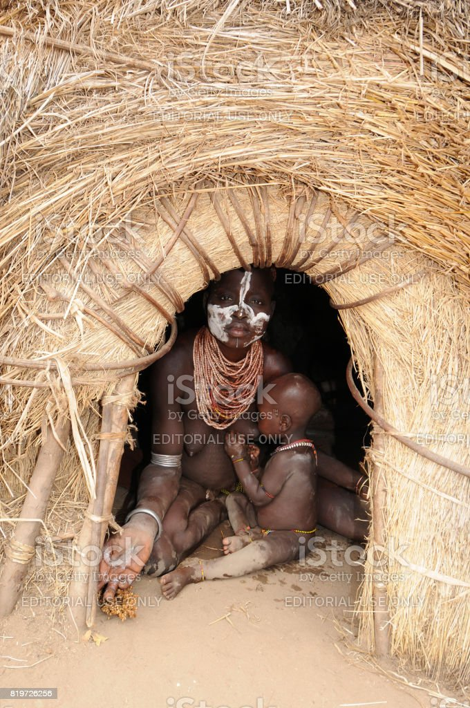 Karo, mother and baby stock photo